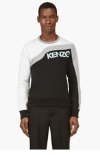 KENZO Black & Grey Colorblocked Crewneck Sweatshirt for men