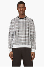 KENZO White & Black MICRO Grid Sweater for men