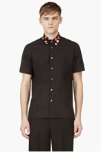 RAF SIMONS Black Floral Print Shirt for men