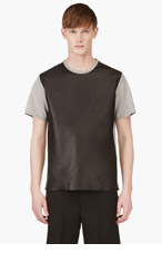 RICHARD NICOLL Heather Grey Leather Panel T-Shirt for men