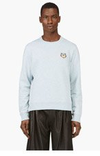 KENZO Heather Blue Tiger Head Logo Sweater for men