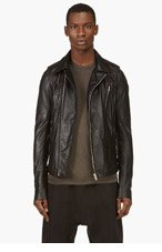 RICK OWENS Black Washed Lambskin Biker Jacket for men