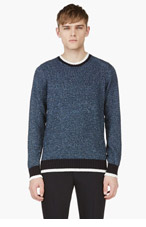 MAISON MARTIN MARGIELA Blue Knit Linen Blend Sweater for men