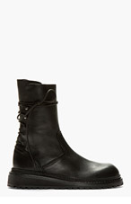 ANN DEMEULEMEESTER Black Leather Tall Ankle Lace Boots for men