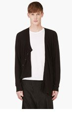 D.GNAK BY KANG.G Black Angled Twist Cardigan for men