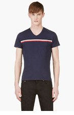 MONCLER Navy blue Chest Stripe Logo Shirt for men