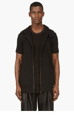 Y-3 Black ZIP UP High-collared VEST for men