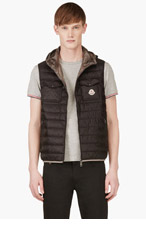 MONCLER Black Quilted Down Hooded Vest for men