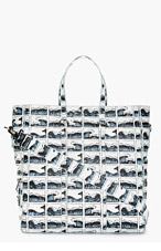 KENZO White & Blue Leather Wave Print Tote for men