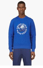 KENZO Blue grid-knit Wave embroidered sweater for men