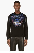 KENZO Black tiger skin embroidered Sweater for men