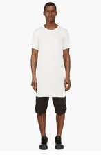 RICK OWENS Ivory Overlong Jersey T-Shirt for men