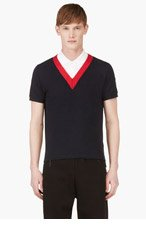 MONCLER GAMME BLEU Navy & Red V-Front Polo for men