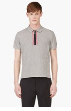 MONCLER GAMME BLEU Grey Zip Accent Polo for men