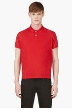 MONCLER GAMME BLEU Red Contrast-Collar Polo for men