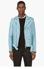 DSQUARED2 Blue Leather Biker Jacket for men