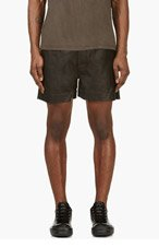 RICK OWENS Black Leather Shorts for men