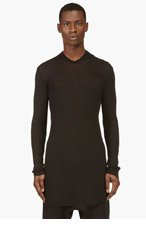 RICK OWENS Black Overlong Hooded T-Shirt for men