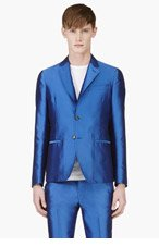 ALEXANDER MCQUEEN Blue Silk Blend Blazer for men