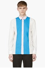 RAF SIMONS White & Blue Colorblocked Shirt for men