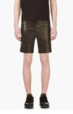 D.GNAK BY KANG.G Black leather Zip-trimmed Shorts for men