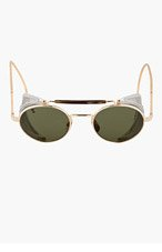 THOM BROWNE Gold Side Shield Round Sunglasses for men