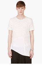 D.GNAK BY KANG.G White Knit Assymetric Hem T-Shirt for men