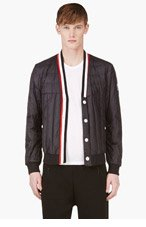 MONCLER GAMME BLEU Navy SIGNATURE STRIPE QUILTED JACKET for men