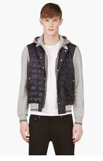 MONCLER Heather Grey Layer-Look Hooded Sweater for men
