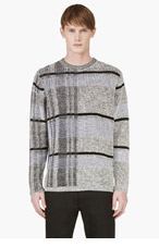 ALEXANDER WANG Grey & Beige Big Check Sweater for men