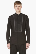 MAISON MARTIN MARGIELA Black Tuxedo-Collar Button-Down Shirt for men