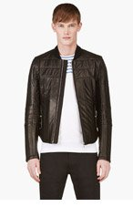 MONCLER GAMME BLEU Black Leather Quilted Jacket for men