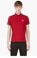 MONCLER Red Signature stripe logo polo for men