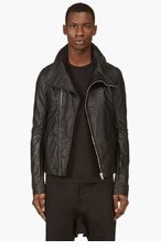 RICK OWENS Black Hidden Pocket Biker Jacket for men