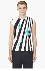 RAF SIMONS White Stripe & Tear Drop Tank Top for men