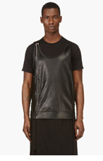 RICK OWENS Black Leather Tunic Vest for men