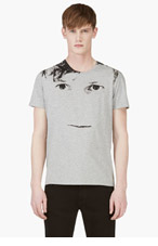 ALEXANDER MCQUEEN Heather Grey Blown Out Face Print t-shirt for men