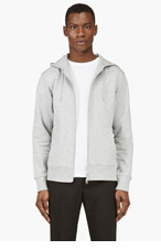 Y-3 Grey LOGO ZIP UP HOODIE for men