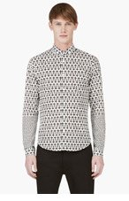 MCQ ALEXANDER MCQUEEN White CROSS Print BUTTON DOWN for men