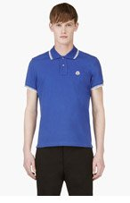 MONCLER Blue Signature stripe logo polo for men