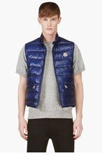 MONCLER Blue Quilted Down Vest for men