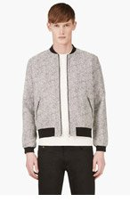 RICHARD NICOLL Black & White Jacquard Tweed Bomber Jacket for men