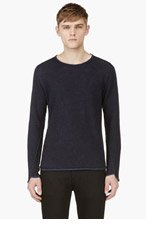 MAISON MARTIN MARGIELA Navy Linen Blend Crewneck Sweater for men