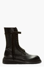 ANN DEMEULEMEESTER Black Leather Tall Lace Up Boots for men