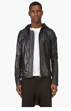 RICK OWENS Navy Lambskin Hooded Biker Jacket for men
