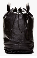 TIGER OF SWEDEN Black Leather Aitoeri Backpack for men
