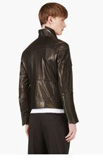 D.GNAK BY KANG.G Black Lambskin Biker Jacket for men