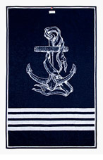 THOM BROWNE Navy Anchor Beach Towel for men