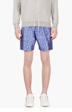 RICHARD NICOLL Blue PYTHON Jacquard SHORTS for men