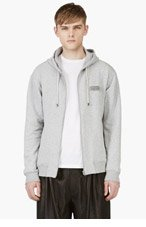 MAISON MARTIN MARGIELA Grey ZIP UP LOGO HOODIE for men
